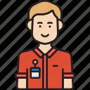 employee, male, man, nametag, red, shirt icon