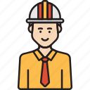 engineer, hat, helmet, male, man, protection icon
