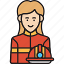 female, fire, firefighter, rescue, woman icon