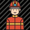 fire, firefighter, fireman, male, man icon