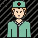 female, medical, nurse, staff, woman icon