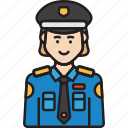 cop, female, police, policewoman, unifrom, woman icon