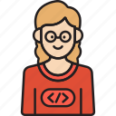 coder, developer, female, glasses, nerd, programmer, woman icon