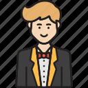 avatar, male, man, receptionist, service icon