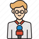 journalist, male, man, news, reporter icon
