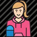 female, girl, skateboard, skater, woman icon