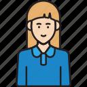 staff, female, avatar, woman, user, blue