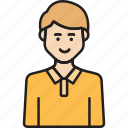 avatar, male, staff, user, yellow icon