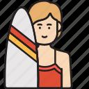 female, surfer, girl, summer, surfboard, woman icon