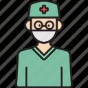 avatar, glasses, inclusiveness, male, man, surgeon icon