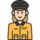 cab, driver, female, taxi, uniform, woman, yellow icon