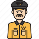 cab, driver, male, man, taxi, yellow icon