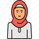 arabian, female, hijab, muslim, woman icon