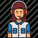 agent, call, center, female, headphones, woman icon