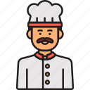 chef, male, cook, food, hat, man, moustaches