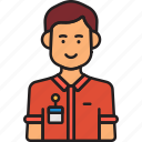 avatar, employee, male, man, nametag, user icon