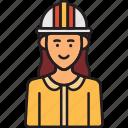 construction, engineer, female, helmet, woman icon