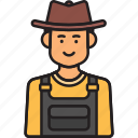 farmer, hat, male, man, overalls icon