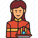 female, fighter, fire, firefighter, rescue, woman icon