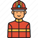 firefighter, male, fighter, fire, man, rescue icon