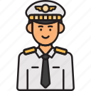 aviator, captain, male, man, pilot icon