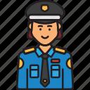 cop, police, policewoman, uniform, woman icon