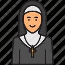 cross, female, nun, priest, religion icon