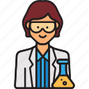 doctor, female, lab, scientist, woman icon