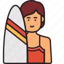 female, summer, surfboard, surfer, woman icon