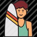 male, surfer, man, summer, surfboard icon