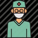 glassess, male, man, scrubs, surgeon icon