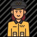 cab, driver, female, taxi, uniform, woman icon