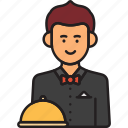 male, waiter, man, restaurant, service