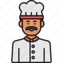 male, chef, man, food, hat, cook, moustache