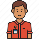 avatar, employee, male, man, nametag icon