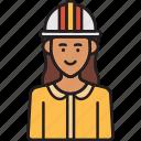 construction, engineer, female, helmet, professional, woman icon