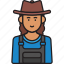 farmer, female, hat, overalls, woman icon