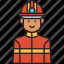 fire, firefighter, helmet, male, man, rescue icon