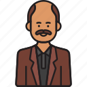 grandad, grandfather, male, man, moustache, old icon