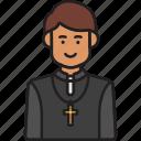 cross, male, man, pastor, priest, religion icon