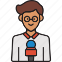 journalist, male, man, mic, news, reporter icon