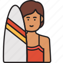 female, surfer, girl, summer, surfboard, woman icon