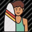boy, male, man, summer, surfboard, surfer icon