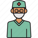 doctor, male, man, scrubs, surgeon icon