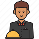 male, man, restaurant, service, waiter icon