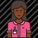 avatar, employee, female, nametag, woman icon