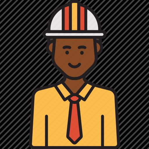 construction, engineer, helmet, male, man, professional icon