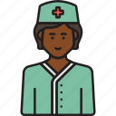 female, medic, nurse, scrubs, woman icon