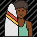 male, surfer, boy, man, summer, surfboard icon