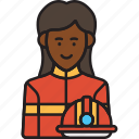 female, fire, firefighter, helmet, rescue, woman icon